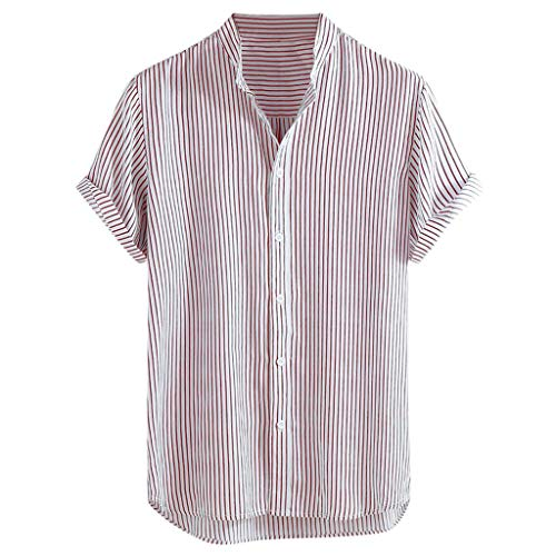 Men's Stand Collar Stripe Shirt,Summer Short Sleeve Loose Buttons Casual Shirt for Party,Daily,Beach Red Designer Hawaiian Dog Collar