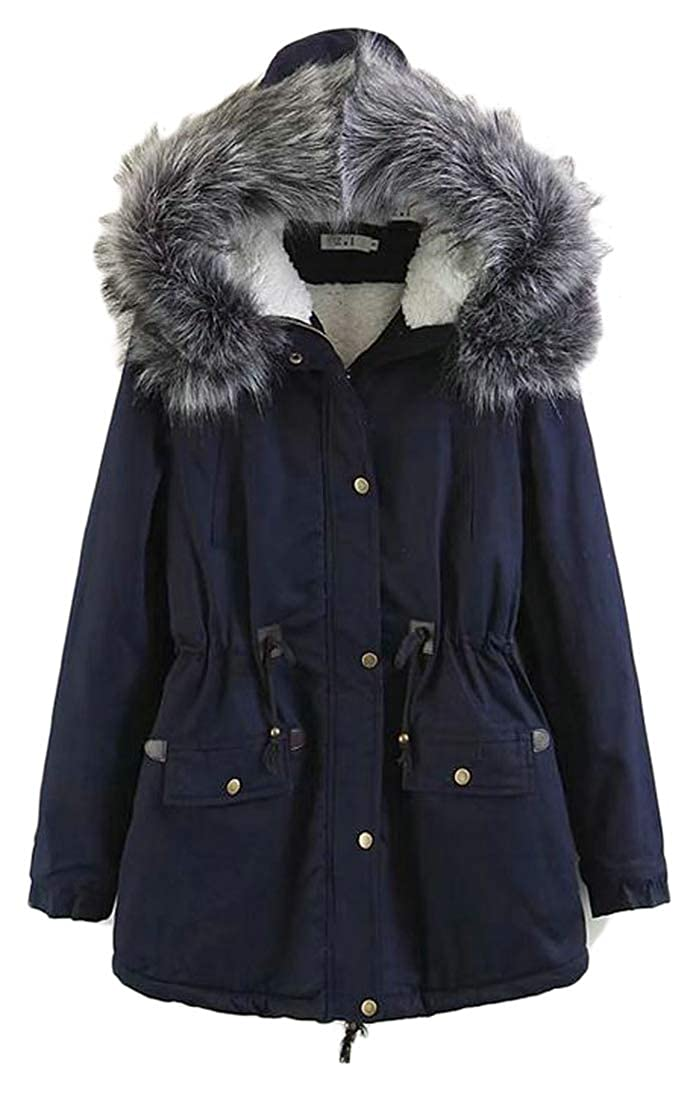 Navy bluee XiaoTianXinWomen XTX Women Fall Winter Faux Fur Hooded Safari Outer Wear Fleece Anorak Parka Jacket