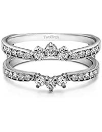 charles colvard created moissanite crown inspired half halo wedding ring guard enhancer in sterling silver 12 ct twt