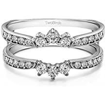 Sterling Silver Crown Inspired Half Halo Wedding Ring Guard Enhancer with Cubic Zirconia (0.56 ct. tw.)