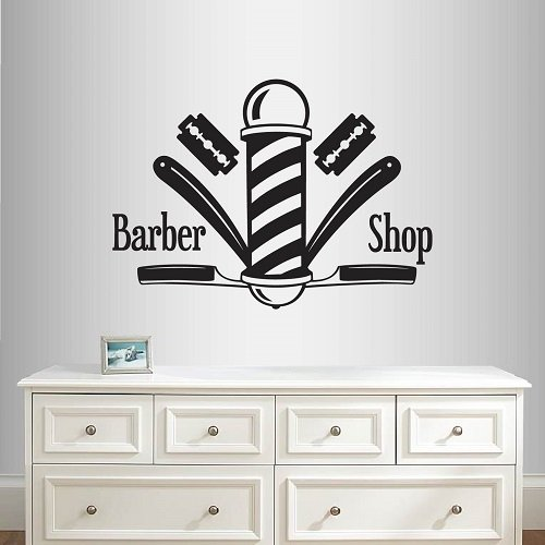 Wall Vinyl Decal Home Decor Art Sticker Baber Shop Sign Barber Pole Scissors Tools Hairstyle Haircut Emblem Symbol Salon Room Removable Stylish Mural Unique Design (Style Emblem Accent)