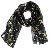 CTM Women's Long Lightweight I Love Jesus with Dove Print Scarf, Black