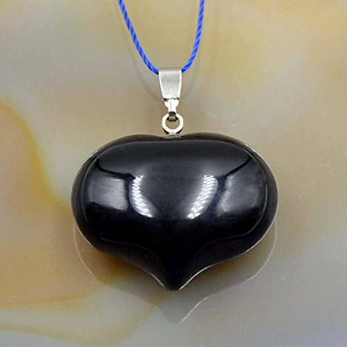 (AD Beads Natural Heart Pendant Necklace Gemstone Reiki Chakra Healing Bead 20x25mm (Black Onyx))