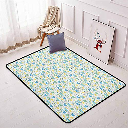 Baby Super Soft Round Home Carpet Retro Newborn Items Stroller Rubber Duck Milk Bottle Pin Pyjamas Pattern for Sofa Living Room W35.4 x L47.2 Inch Blue Yellow Mint Green