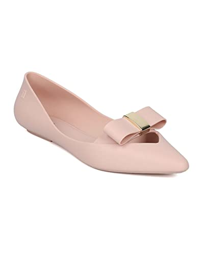 Women Jelly Ballet Flat - Pointy Toe Flat - Bow Tie Slip on Keyhole Walker - Maisie II by