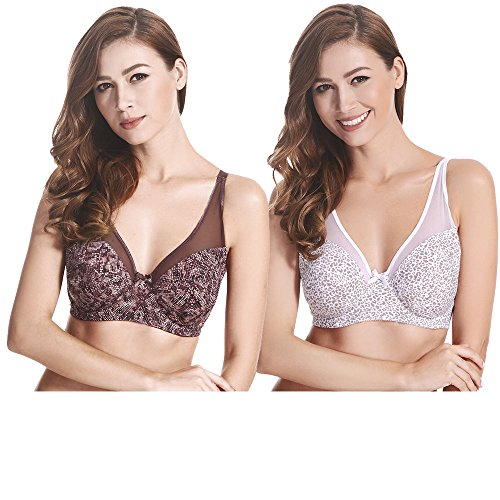 Demi Leopard Bra - Curve Muse Plus Size Minimizer Underwire Bra with Floral and Leopard Print-2pack (Size:42C)