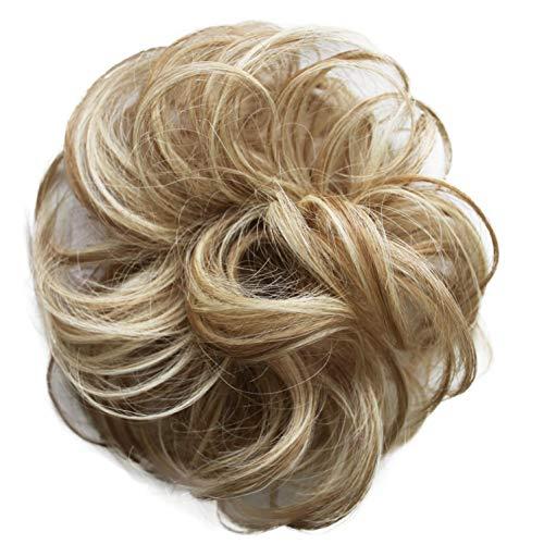 - PRETTYSHOP 100% Human Hair Up Scrunchie Scrunchy Extensions Hairpiece Do Bun Ponytail Diverse Colors (blonde mix #27H613)