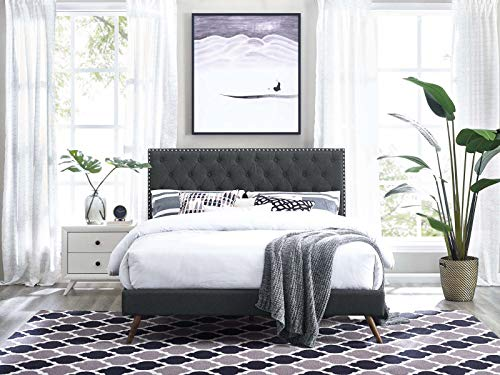Modway Helena Tufted Button Linen Fabric Upholstered King and California King Headboard in Gray