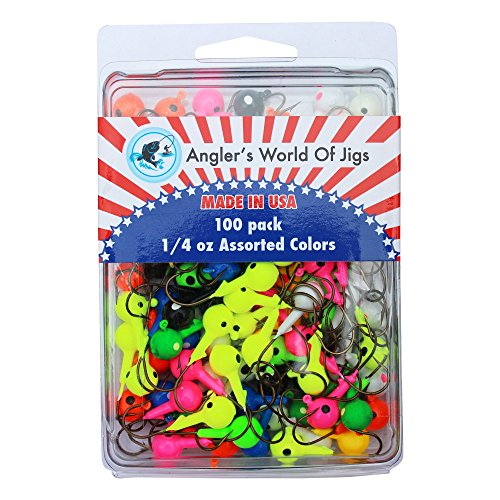Angler's World of Jigs - Round Freshwater Fishing Jig Heads - Bright Assorted Colors - Two Tone Glow (1/4 oz Assorted Colors, 100 Pack)