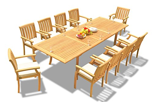 (TeakStation 10 Seater Grade-A Teak Wood 11 Pc Dining Set: 117