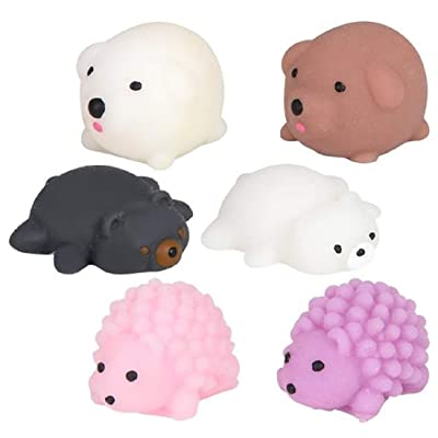 Bark and Lindy Mochi Squishy Squishies Toy Soft Squeeze Rubber 1.5 Inch Mini Animals for Stress Relief Party Favors Collecting (Set of 6): Toys & Games