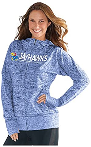 NCAA Kansas Jayhawks Women's Receiver Hoody, Large, Royal - Full Zip Hockey Hoody