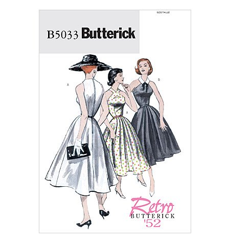 1950s Sewing Patterns | Dresses, Skirts, Tops, Mens 1952 BUTTERICK PATTERN B5033 RETRO BUTTERICK 52 MISSES DRESS AND BELT SIZE EE 14-20  AT vintagedancer.com