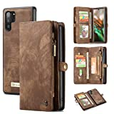 Galaxy Note10+ Plus Wallet Case,AKHVRS Handmade Premium Cowhide Leather Wallet Case,Zipper Wallet Case [Magnetic Closure]Detachable Magnetic Case & Card Slots for Samsung Galaxy Note 10+ Plus - Brown