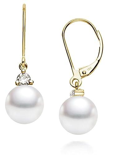 c8e4af8e4b4 18k Gold AAAA Quality Japanese Akoya Cultured Pearl Dangling Diamond  Earrings