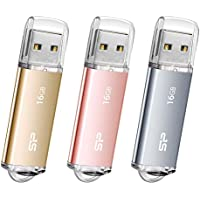 Silicon Power 16GB Flash Drive 3PK Ultima I-Series Metallic USB 2.0 Flash Drive for Windows/Mac- Rose Gold/Gold/Space Gray, Aluminum APPLE MIX (SP048GBUF2M01VCM)