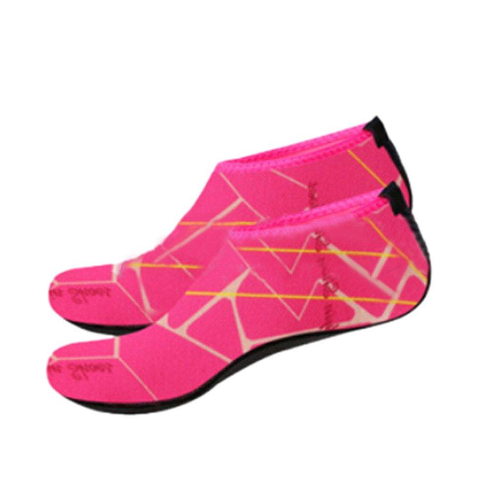 Han Shi Water Shoes, Men Women Fashion Outdoor Sports Diving Swim Soft Beach Yoga Socks (M, Hot pink)
