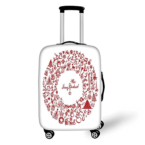 Travel Luggage Cover Suitcase Protector,Christmas,Vintage Merry Xmas Wreath with Several Noel Yule Icons Ribbons Candles Bells Image,Red,for Travel (Kohls Christmas Wreath)