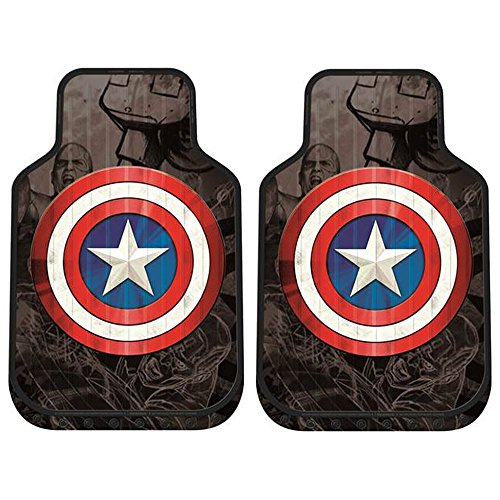 Yupbizauto New Design 8 Pieces Marvel Comic Captain America Car Seat Covers Floor Mats And Steering