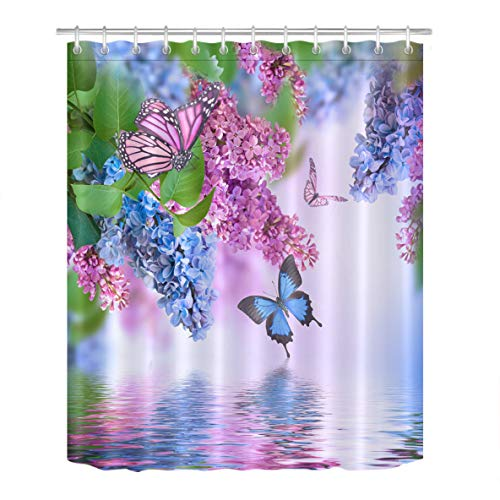 LB Butterfly and Lilac Flowers Bathroom Decor Shower Curtains by, Floral Decor Restroom Bathtub Curtain, Mildew Resistant Waterproof Fabric Decorative Curtain, 70 x 70 Inch