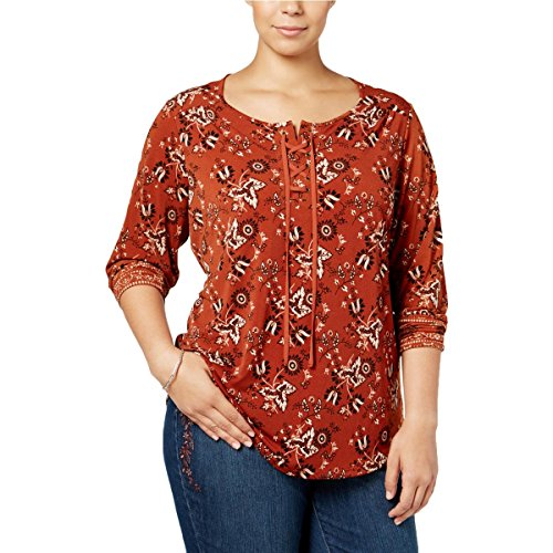 Style & Co Shirt Top (Style & Co. Womens Plus Printed Lace-Up Casual Top Orange 2X)