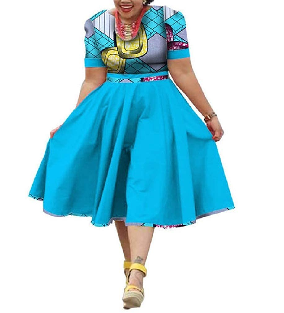 8 Mfasica Women Plus Size Midi Floral African Print MidLong Swing Dresses