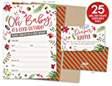 Baby : Baby It's Cold Outside Winter Baby Shower Invitations and Diaper Raffle Tickets with Winter Florals. Set of 25 Fill In Style Cards, Kraft Envelopes, Raffle Tickets