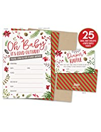 Baby It's Cold Outside Winter Baby Shower Invitations and Diaper Raffle Tickets with Winter Florals. Set of 25 Fill In Style Cards, Kraft Envelopes, Raffle Tickets BOBEBE Online Baby Store From New York to Miami and Los Angeles