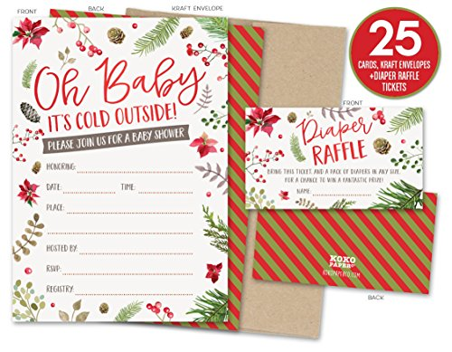 Baby It's Cold Outside Winter Baby Shower Invitations and Diaper Raffle Tickets with Winter Florals. Set of 25 Fill In Style Cards, Kraft Envelopes, Raffle Tickets