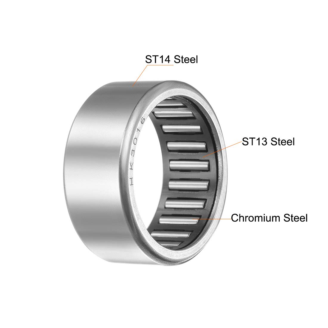 Open End 16mm Width 27000N Static Load 15200N Dynamic Load 8100rpm Limiting Speed 2pcs 37mm OD 30mm Bore uxcell HK3016 Drawn Cup Needle Roller Bearings