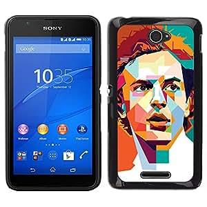 Be-Star Único Patrón Plástico Duro Fundas Cover Cubre Hard Case Cover Para Sony Xperia E4 ( Polygon Orange Teal Redhead Retro )