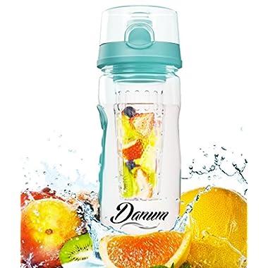 Danum Fruit Infuser Water Bottle - Large 32 oz Flip Top - Turquoise