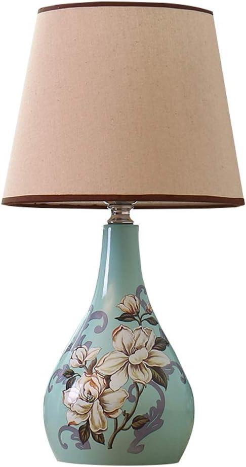 Luz Nocturna/Lámpara de Mesa Lámpara de mesa de estilo europeo dormitorio Mesita de luz de la lámpara del jardín de la sala principal lámpara de mesa de cerámica Lámpara de Cabecera ( Color : B )