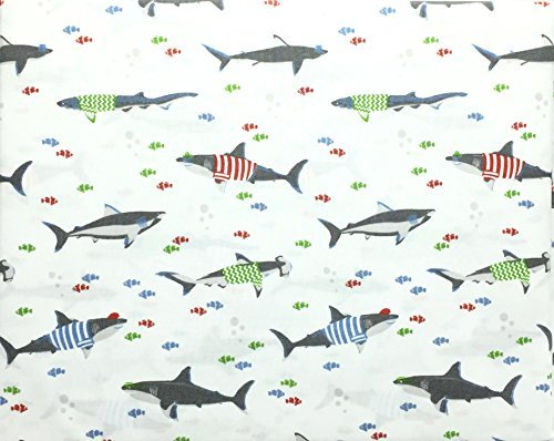 Bubble Cotton Bed (Max Studio Kids Silly Sharks in Colorful Shirts with Clownfish and Bubbles All Cotton Full Size Sheet Set)