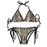 Realtree Camo Wallpapers Women's Two Pieces Bikini Set Swimsuit Bathing Suits Padded Top Side Bottom Tie Swimwear