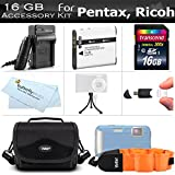 16GB Accessory Kit for Pentax Optio WG-3 WG-3 GPS Ricoh WG-4 WG-30 WG-30W...