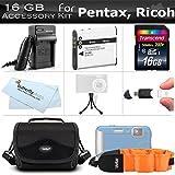 16GB Accessory Kit for Pentax Optio WG-3 WG-3 GPS Ricoh WG-4 WG-30 WG-30W...