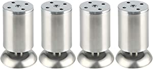 Alise Sofa Legs Stainless Steel Thickened Ambry Foot Tea Table and Chair Footstool Replacement Furniture Support Leg Adjustable Cabinet Legs 4x2 Inch,Brushed Nickel Pack of 4 Brushed Nickel