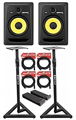 """(2) KRK RP8-G3 Rokit Powered 8"""" Powered Studio Monitors+Stands+MOPAD+4 Cables from KRK"""