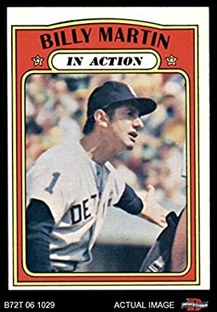 Amazoncom 1972 Topps 34 In Action Billy Martin Detroit