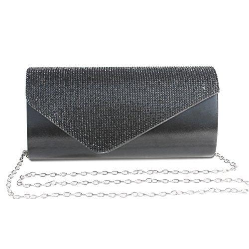 Womens Rhinestone Clutch Purse Evening Bags Wedding Party Cocktail Handbag.(Black) by GESU