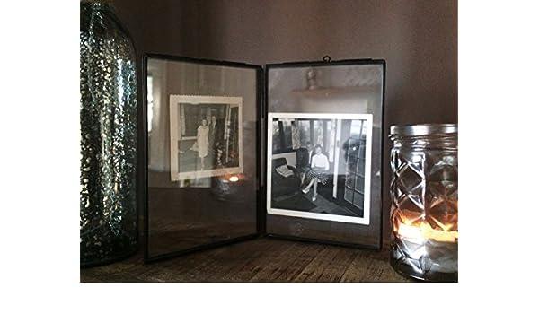 Marco de fotos de doble cara titular de vidrio y metal imagen independiente estilo antiguo (5