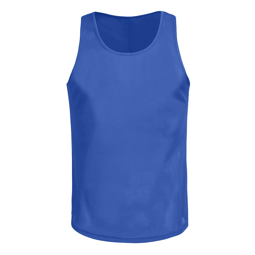 Sunyastor Men's Sleeveless Tank Top Men Workout Fitness T-Shirt Summer Slim Fit Muscle Mesh Breathable Bodybuilding Vest Tee Blue