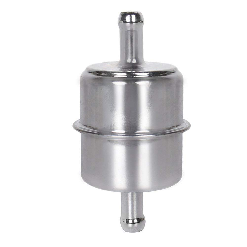 A-Team Performance Fuel Pump Filter Chrome Plated Canister Inline Mount 3//8 in Hose Barb Inlet Outlet for Carburated Applications Compatible with Chevy Chevrolet Ford Mopar