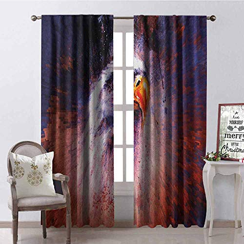 - Gloria Johnson Eagle Blackout Curtain Aggressive Animal on Abstract Backdrop Freedom Image Independence Eagle 2 Panel Sets W52 x L108 Inch Violet Blue Red Orange
