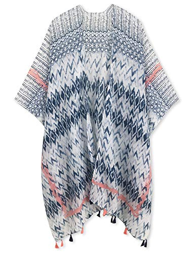 Spicy Sandia Swimsuit Cover ups for Women with Tassel Open-Front Kimono Cardigan with Navy Chevron Beach Cover up