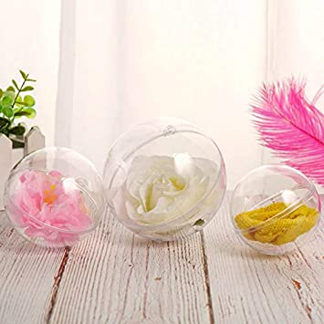 Lanceasy 10pcs Transparent Balls Sphere Baubles DIY Ornament Hanging For Christmas Tree Party
