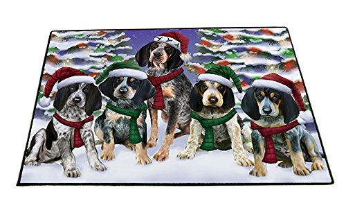 Bluetick Coonhound Dog Christmas Family Portrait in Holiday Scenic Background Indoor/Outdoor Floormat (24x36) (Family Christmas Outdoors Portraits)