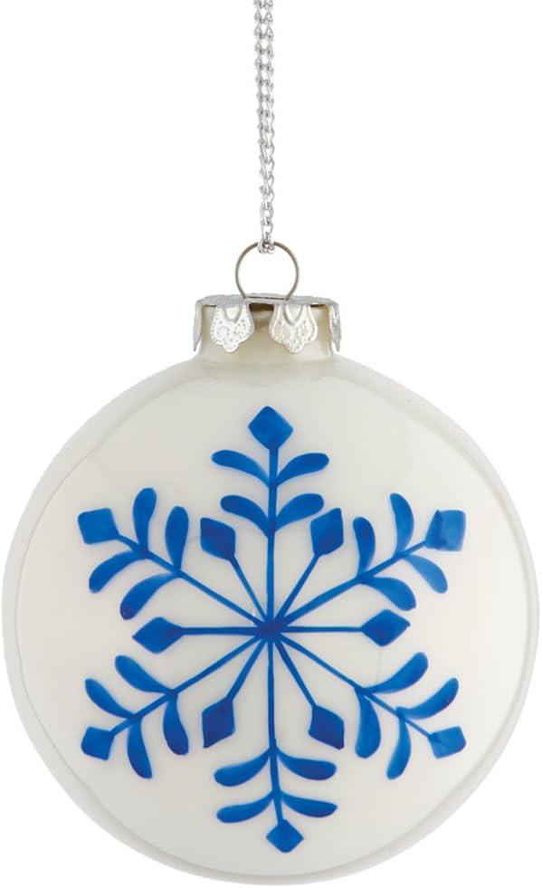 "Napa Home & Garden Painted Snowflake 4.5"" Glass Ball Ornament, Blue/White"