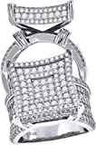 925 Sterling Silver Womens Cubic Zirconia CZ Size-9 Cluster Square Raised Head Fashion Band Ring